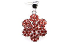 SheCrown New Arrival Flower Orange Spessartine Garnet Mother s Day Gift 925 Silver Pendant 30x18mm - AliExpress