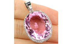 BIg Oval Gemstone 22x18mm Pink Kunzite White CZ Woman s 925 Silver Pendant 25x20mm - AliExpress