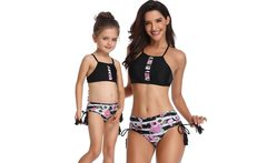 Summer Family Matching Bandage Swimsuits Mother and Daughter Striped Bikini Sets Swimwear Mom Daughter Floral Clothing Set - AliExpress