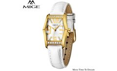 Mige Watches For Women 2017 Ladies White Fashion Brand Female Gold Case Leather Water Resistant Wristwatches New Arrival Watch - AliExpress