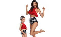 Mom and Daughter Matching Bikini Sets Halter Bandage Swimwear High Waist Flounce Dots Matching Mother Girls Clothes Outfit - AliExpress