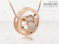 Colar Ouro Rosa Crystal Heart made with Swarovski® Elements - LetsBonus