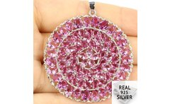 Guaranteed Real 925 Solid Sterling Silver 10 8g Long Big Size Top Pink Tourmaline Pendant 50x43mm - AliExpress