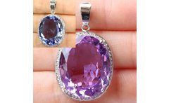 Deluxe Top Big Oval Gemstone Color Changing Alexandrite Topaz CZ 925 Silver Pendant 25x20mm - AliExpress