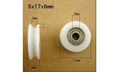 Free Shipping U groove sliding door wheel 5x17x6mm POM caoted with 625ZZ bearing roller inner 5mm groove wheel - AliExpress