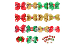 3 Cute Christmas Hair Bow With Ribbon Cover Hair Clips Santa Claus White Polka Dots Christmas Hairpin Girls Hair Accessories - AliExpress