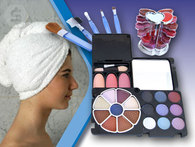 HAPPY HOUR: SET DE MAKE UP Y TURBANTE DE TOALLA. 18 sombras, 3 rubores, 12 labiales, pinceles y brochas. Recibilos vía OCA en tu domicilio en todo el país. - Descontate