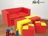Juego de living p los mas chicos Mini sillon Mini mesa 2 Puffs