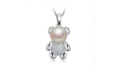 8 9mm New Sweety Fresh Water Bear Pearls Necklace pendants 925 Sterling Silver Color Trendy Pearl Pendant Necklace - AliExpress