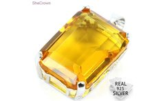 Guaranteed Real 925 Solid Sterling Silver 4 1g 18x13mm Rectangle Golden Citrine Gift Pendant 25x13mm - AliExpress