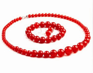Red Acrylic Graduated Beads Jewelry Sets Lady s Choker Necklace Earrings Sets with Bracelet - AliExpress