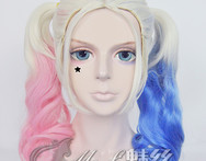 2015 new arrival Mid long length curly ombre pink blue color Harley Quinn double ponytails cosplay wig kanekalon synthetic hair - AliExpress