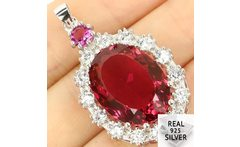 Real 925 Solid Sterling Silver 7 3g Big Heavy Gem Oval 20x15mm Pink Tourmaline White CZ Engagement Pendant 40x18mm - AliExpress