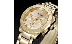 New Brand GENEVA Watch Women Luxury Brand Quartz Watch Women Gold Stainless Steel Dress Watch Fashion Casual Hours Female Clock - AliExpress