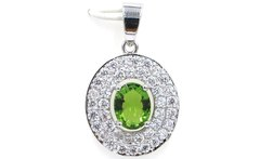 SheCrown New Designed Green Peridot Cubic Zirconia Gift For Girls 925 Silver Pendant 30x18mm - AliExpress