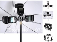 All metal Tri Hot Shoe Mount Adapter Photo Studio Accessories for Flash Holder Bracket Light Stand - AliExpress