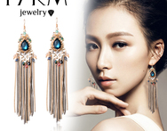 17KM Brand SWA Element AAA Level Zircon Alloy Pearl Ethnic Tassel 12CM Long Dangle Earrings Fine Jewelry For Women 2014 - AliExpress