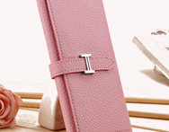Free shipping New arrival fashion H buckle three fold long change purse handbag leather wallet for women - AliExpress