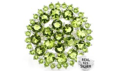 5 0g Real 925 Solid Sterling Silver Green Peridot Round Ladies Engagement Rings US sz 7 25 25x25mm - AliExpress
