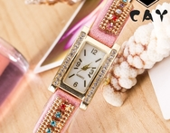 0670 Women colorful Rhinestone fully covered Bracelet watch rectangle Dial Gold Alloy PU mix band Dashing Wrist Watch - AliExpress