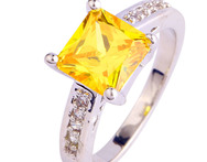Wholesale Elegant Shinning Princess Cut Citrine White Topaz 925 Silver Ring Size 7 8 9 10 Jewelry Gifts - AliExpress