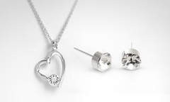 $16.990 por conjunto modelo Heart Zyrcon con cristales SWAROVSKI ELEMENTS en color a elección. Incluye despacho - Groupon