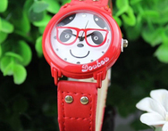 HotBoy s Girl s Cartoon Watches Panda Glasses Style Faux Leather Analog Quartz Wrist Watch - AliExpress