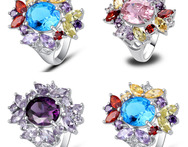 New Fashion Jewelry Purple Amethyst Champagne Morganite pink blue Topaz 925 Silver Ring Size 7 8 9 10 wholesale Free Shipping - AliExpress