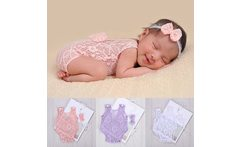 3 colors Newborn Baby Maternity Props Baby Photo Props Photography Quilt With Headband Sets Infant girl headbands accessories - AliExpress