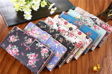 Leather embossed painting Stand Wallet Coque Fundas cover For sony xperia case z2 L50W D6503 D6502 D603 Phone bags Retro flower - AliExpress