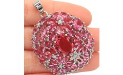 SheCrom Luxury Flower Pink Tourmaline CZ Woman s Engagement Silver Pendant 46x34mm - AliExpress