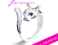 925 pure silver handmake animal jewelry cat wrap ring adjustable split rings for women girls charmming gift free shipping - AliExpress