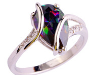 Fashion Jewelry Brilliant Mysterious Rainbow Sapphire 925 Silver Ring Size 6 7 8 9 10 Women Gift Free Shipping Wholesale - AliExpress