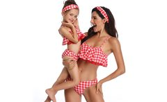 Mommy and Me Clothes Bandeau Bikini Sets Plaid Lace Swimsuit Flounce Mother Daughter Swimwear Sexy Matching Family Outfit - AliExpress